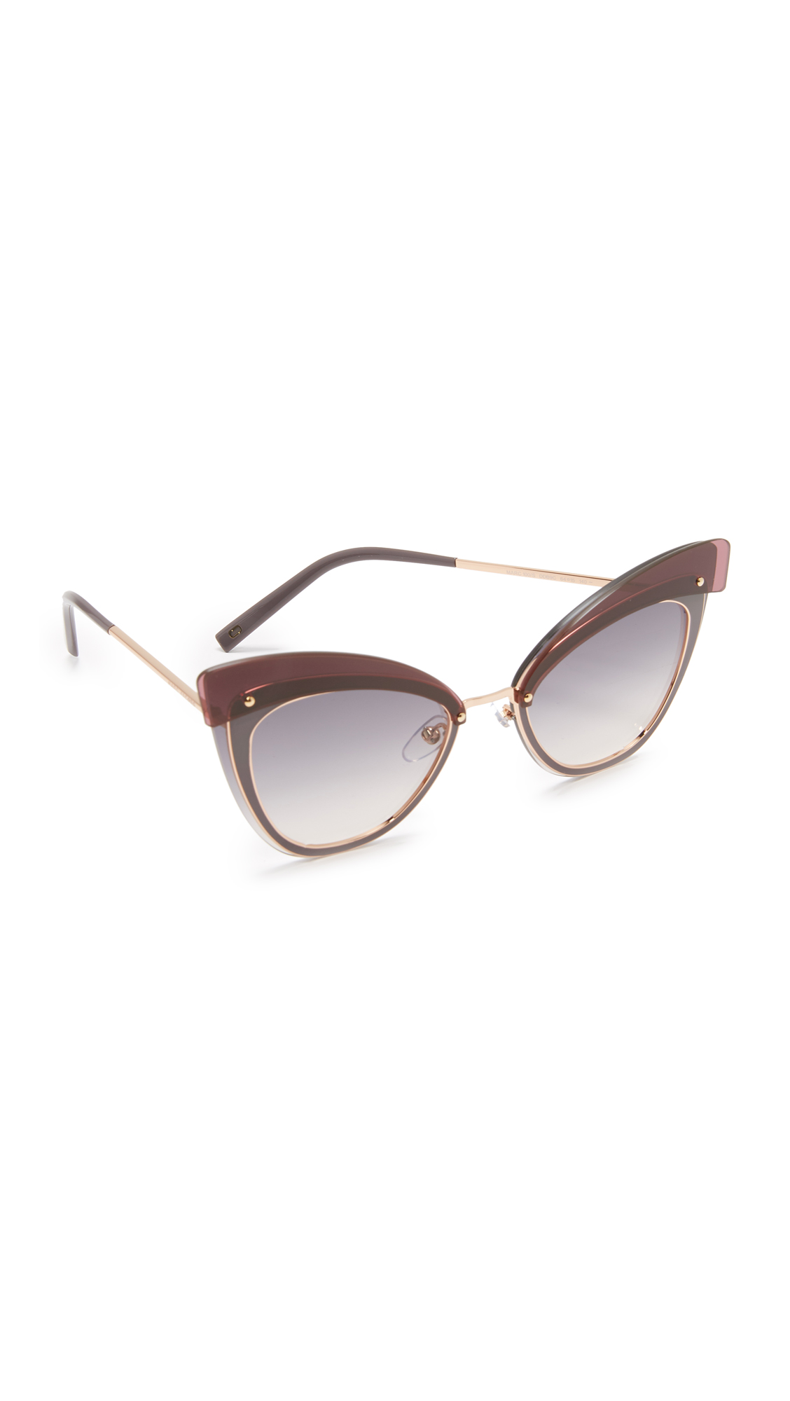 marc jacobs female marc jacobs layers cat eye sunglasses gold copper violetdark grey