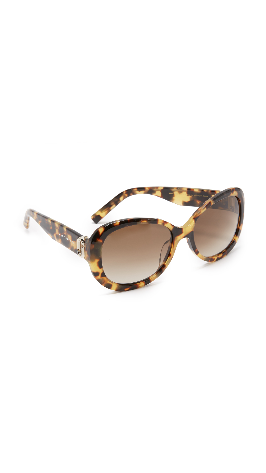 marc jacobs female 420893 marc jacobs oval sunglasses glitter havanabrown