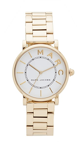 Marc Jacobs Roxy Watch In Gold/White Satin