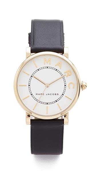 Marc Jacobs Roxy Leather Watch - Gold/White Satin/Black