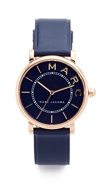 Marc Jacobs Roxy Leather Watch - Rose Gold/Navy Satin/Navy