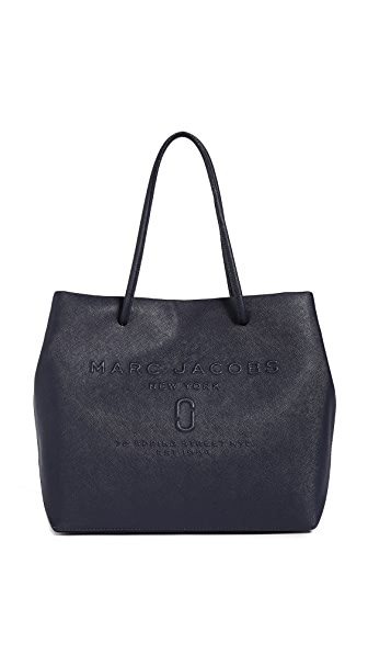 Marc Jacobs Logo Shopper Tote In Midnight Blue