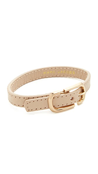 Marc Jacobs Icon Buckle Leather Bracelet - Antique Beige