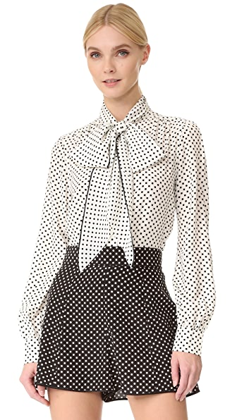 Marc Jacobs Tie Neck Blouse - Cream/Black