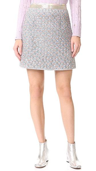 Marc Jacobs Bugle Bead Detailed Skirt - White Multi