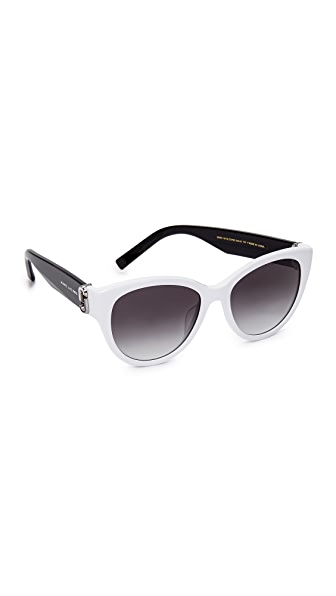 Marc Jacobs Double J Cat Eye Sunglasses - White/Dark Grey