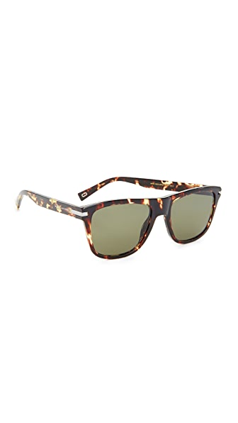 Marc Jacobs Flat Top Sunglasses - Crystal Havana/Green