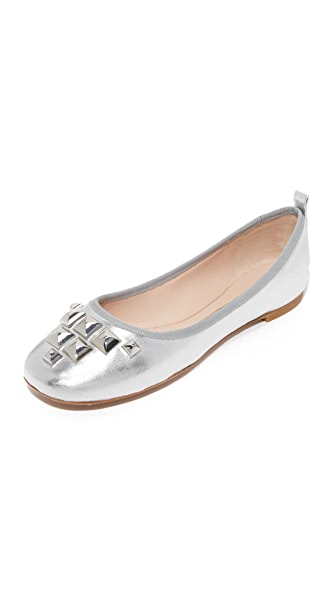 Marc Jacobs Cleo Studded Ballerina Flats - Silver