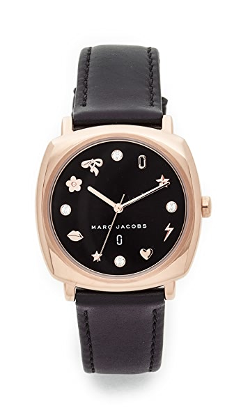 Marc Jacobs Mandy Leather Watch - Rose Gold/Black/Black