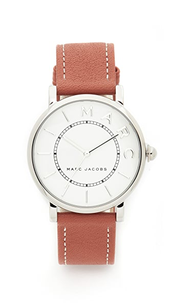 Marc Jacobs Roxy Leather Watch - Sterling Silver/White/Tan