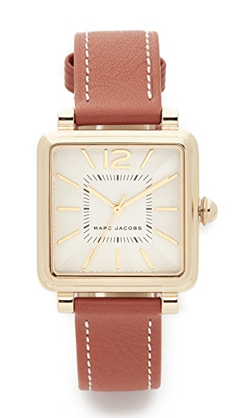 Marc Jacobs Vic Leather Watch - Gold/White/Tan