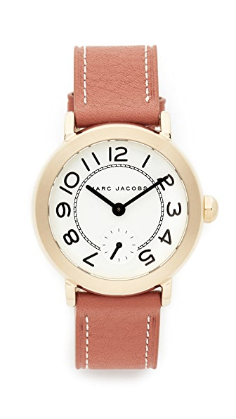 Marc Jacobs Riley Leather Watch - Gold/White/Tan