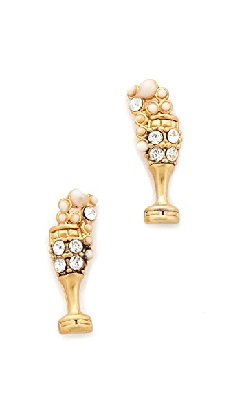 Marc Jacobs Champagne Flute Stud Earrings - Antique Gold