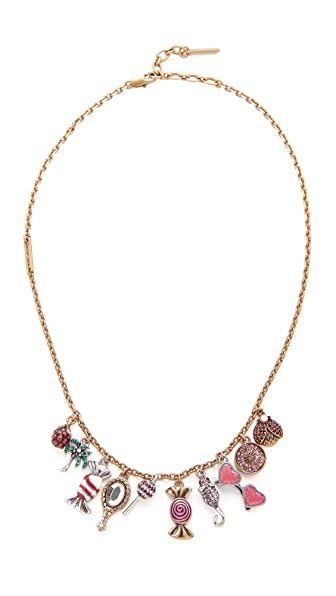 Marc Jacobs Charms Poolside Statement Necklace In Antique Gold