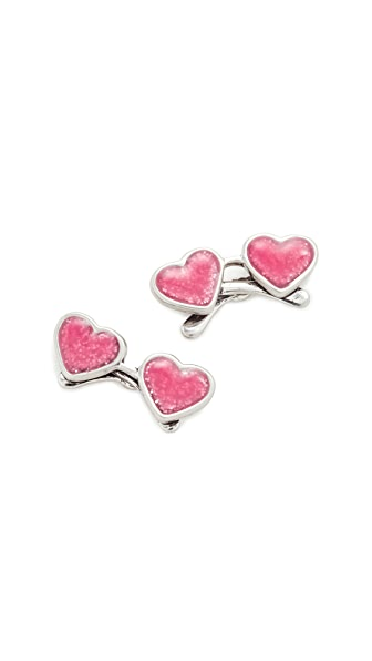 Marc Jacobs Heart Sunglasses Stud Earrings - Antique Silver