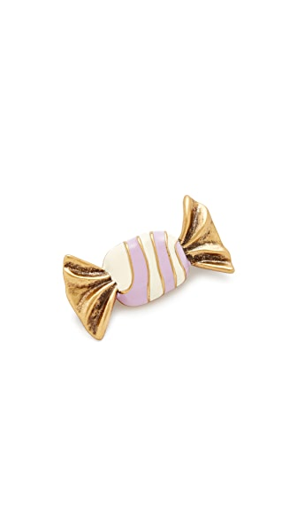 Marc Jacobs Striped Candy Brooch In Antique Gold