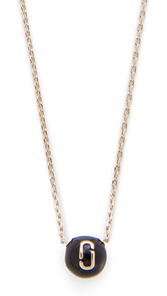 Marc Jacobs Icon Enamel Ball Necklace In Black/Gold