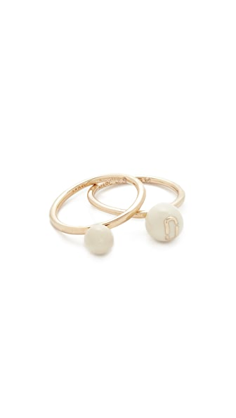 Marc Jacobs Icon Enamel Ball Ring Set - Cream