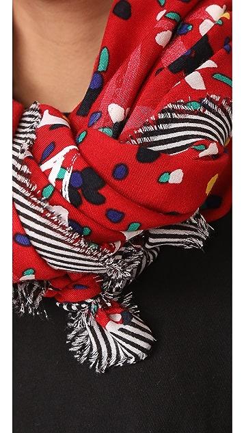 Marc Jacobs Большой шарф с нарисованными цветами и сердечками