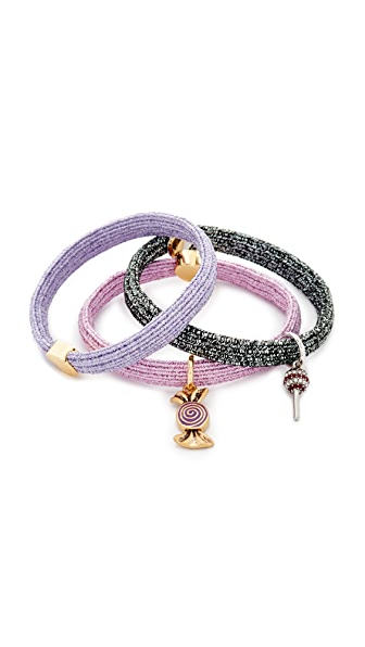 Marc Jacobs Swirl Candy Hair Ties - Metallic Lilac Multi
