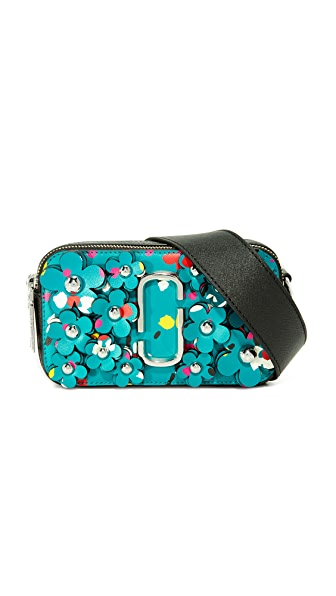 Marc Jacobs 3D Painted Flowers Snapshot Camera Bag - Turquoise Multi