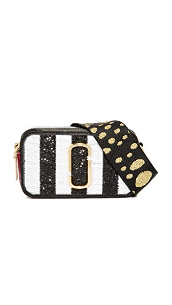 Marc Jacobs Sequin Stripes Snapshot Camera Bag In Black Multi