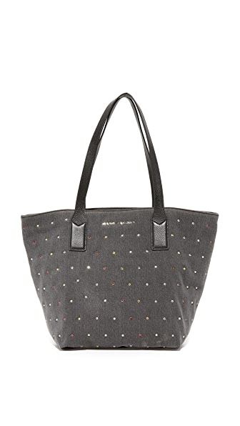 Marc Jacobs Embellished Denim Wingman Tote - Black