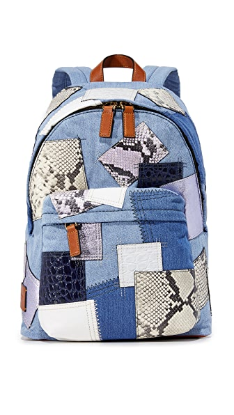 Marc Jacobs Denim Patchwork Biker Backpack In Denim Multi
