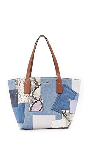 Marc Jacobs Denim Patchwork Wingman Tote - Denim Multi