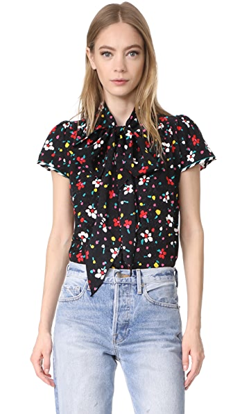 Marc Jacobs Button Flutter Sleeve Top - Black Multi