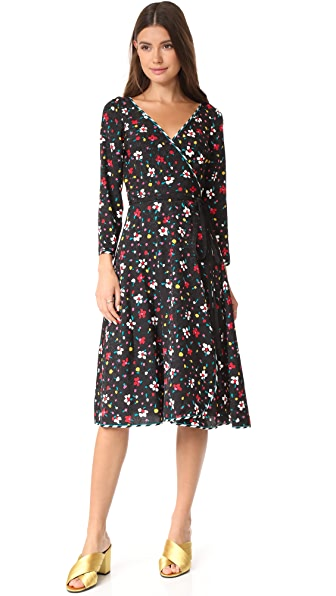 Marc Jacobs Wrap Dress with Waist Tie - Black Multi