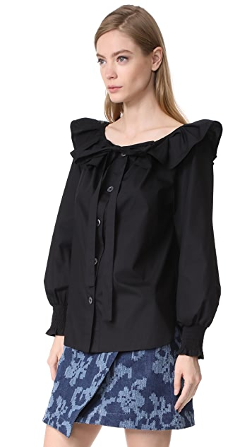 Marc Jacobs Button Front Blouse with Ruffle