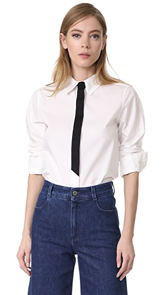 Marc Jacobs Faux Tie Button Down - White