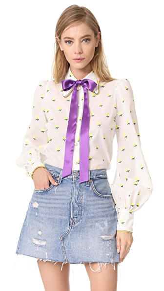 Marc Jacobs Tie Neck Blouse - White Multi