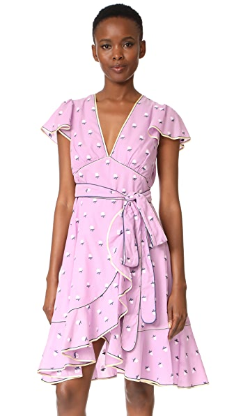 Marc Jacobs Dress with Flutter Sleeves - Light Purple Multi