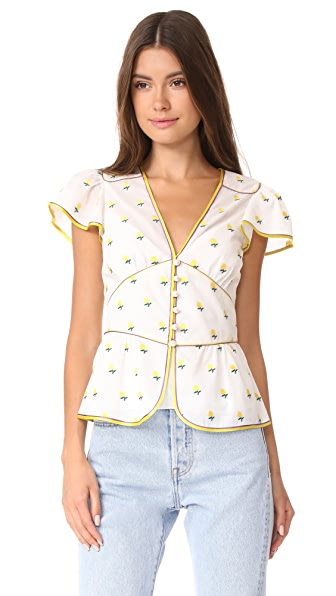 Marc Jacobs V Neck Flutter Sleeve Blouse