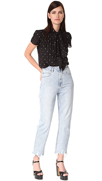 Marc Jacobs Button Flutter Sleeve Top with Crystals
