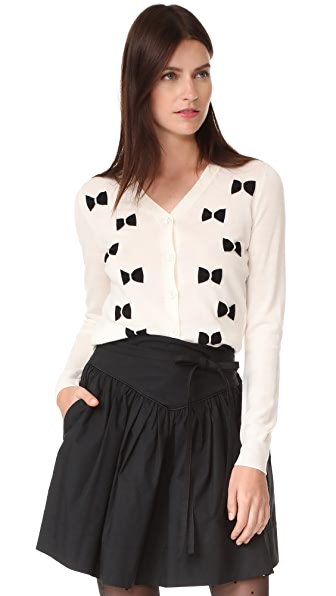 Marc Jacobs Long Sleeve Bow Cardigan - Ivory Multi