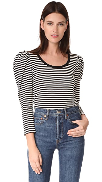 Marc Jacobs Striped Puff Sleeve Top In Black Multi