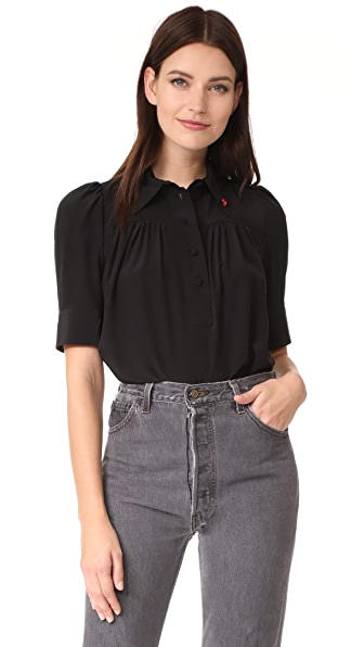 Marc Jacobs Blouse with Collar and Pin - Black