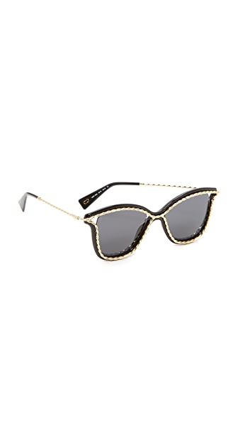 Marc Jacobs Rope Outline Sunglasses - Black Gold/Grey
