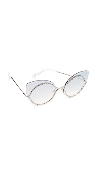 Marc Jacobs Rimless Rope Outline Sunglasses - Ruthenium/Grey Silver
