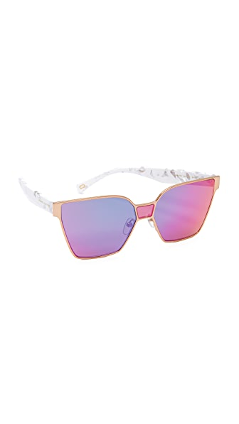Marc Jacobs Mirrored Square Sunglasses - Gold/Pink