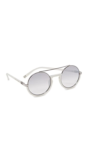 Marc Jacobs Round Brow Bar Sunglasses In White/Grey Silver