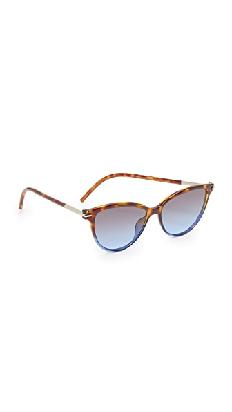 Marc Jacobs Cat Eye Sunglasses - Havana Brown Blue/Grey Blue