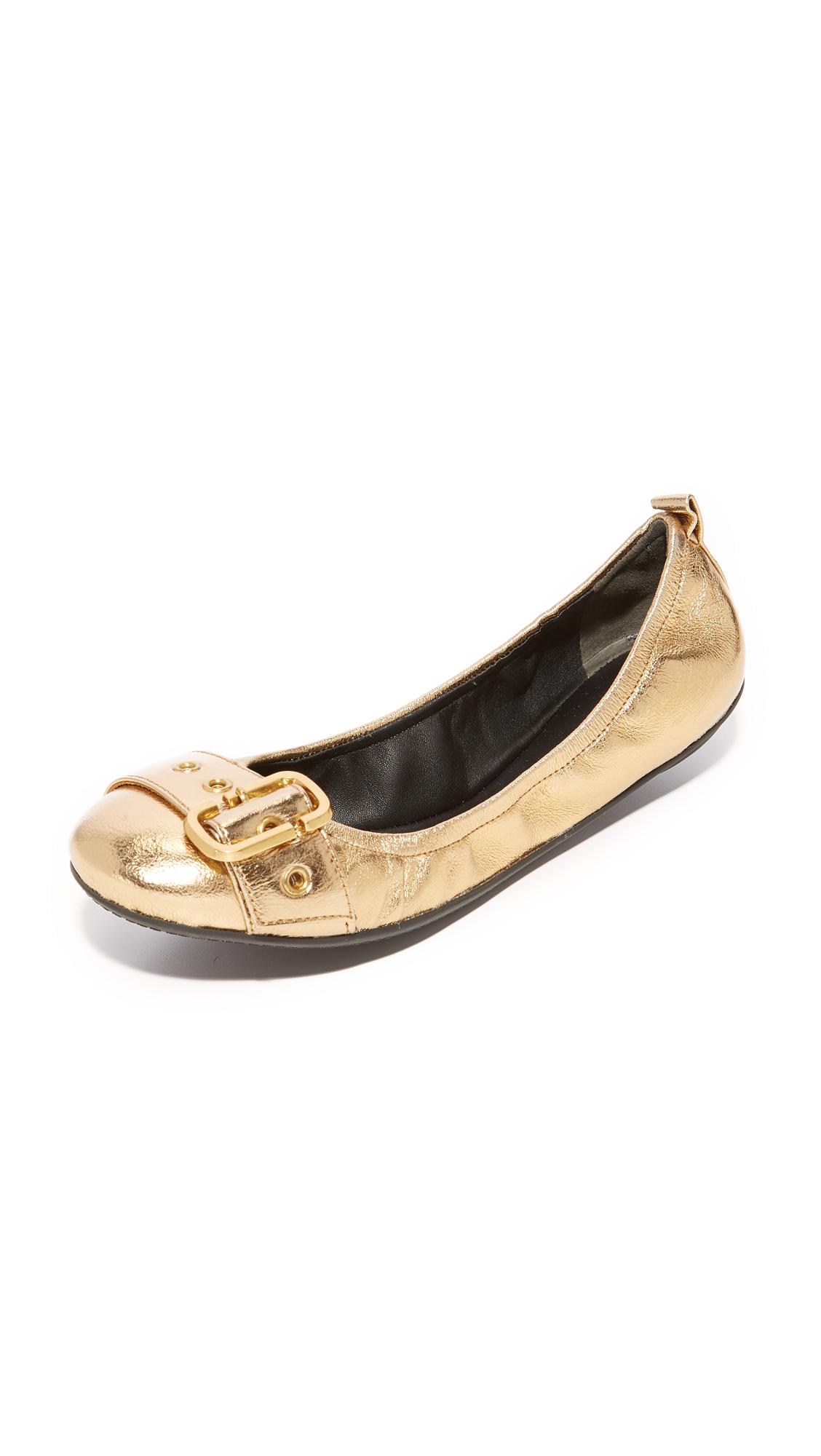 Marc Jacobs Dolly Buckle Ballerina Flats - Gold