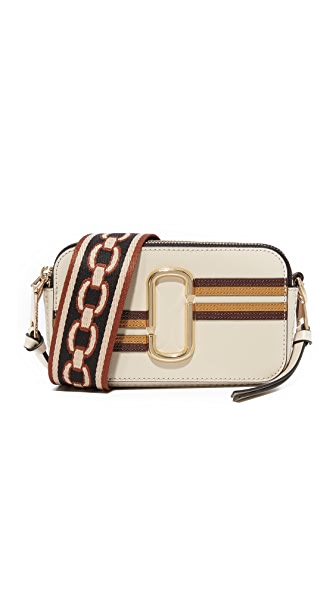 Marc Jacobs Stripe Snapshot Camera Bag In Parchment Multi