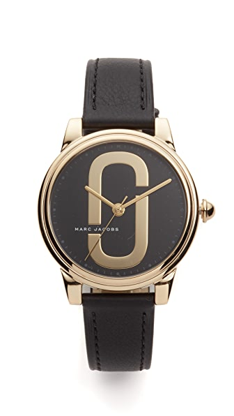 Marc Jacobs Corie Leather Watch - Gold/Black
