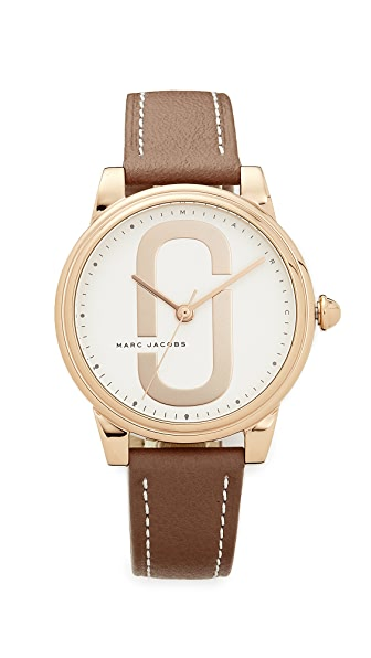 Marc Jacobs Corie Leather Watch - Rose Gold/White/Cement
