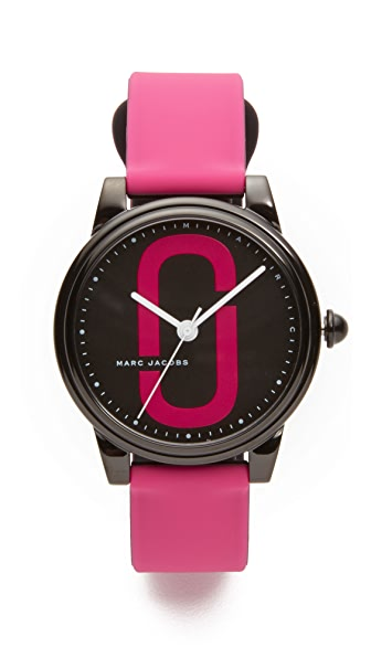 Marc Jacobs Corie Watch - Black/Hibiscus Pink